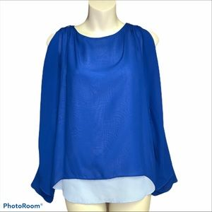 WHBM blue top size XS.  Very girly and feminine